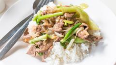 Fried Stir Pork Liver with Sweet Pepper , Thai food - stock photo