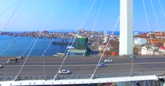 Aerial view of the Golden Bridge,Vladivostok, Russia. Stock Footage