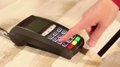 Hand dialing pin code and making transaction using pos terminal Stock Footage