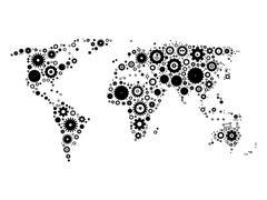 World map mosaic of cog wheels - stock illustration