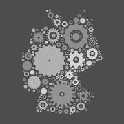 Germany map silhouette mosaic of cogs and gears - stock illustration