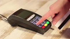 Entering pin code and making  contactless payment using pos terminal Stock Footage
