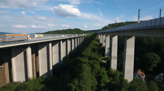 Concrete motorway and train bridge Stock Footage