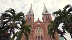 Close Up Shot of the Saigon Notre-Dame Basilica in Ho Chi Minh City, Vietnam Stock Footage