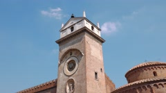 Clock Tower in Piazza delle Erbe in Mantua Stock Footage