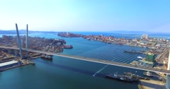 Aerial view of the Golden Bridge,Vladivostok, Russia. Stock Footage