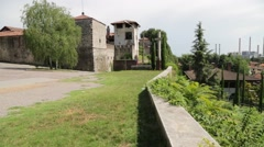 In italy turbigo the castle near factory  chimney and the roof city   plant a Stock Footage