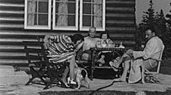 USA 1945: group of people having breakfast outdoor Stock Footage