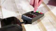 Dialing pin code using external pinpad of  pos terminal Stock Footage
