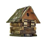 Model of simple village wooden log house isolated on white - stock photo