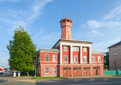 Building of fire department with watchtower, Uglich, Russia Stock Photos