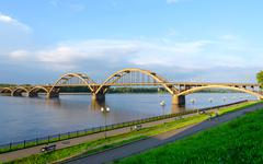 Automobile bridge over Volga River, Rybinsk, Russia - stock photo