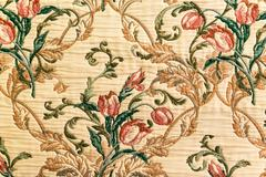 handmade fabric with seamless floral pattern background - stock photo