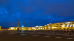 Palace Square night lights view of Alexander Column night to day timelapse Stock Footage