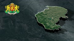 Montana with Coat Of Arms Animation Map Stock Footage