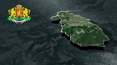 Pazardzhik with Coat Of Arms Animation Map Stock Footage