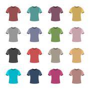 Set of colored t-shirts, vector illustration. Stock Illustration