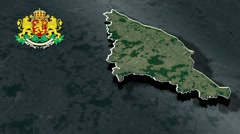 Silistra with Coat Of Arms Animation Map Stock Footage