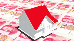 4k rotate house on 100 RMB bills background,business investment,real-estate. Stock Footage