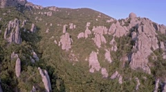 Crimea Ghosts Valley Mountain. Drone down into the gorge. - stock footage