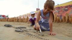 Archaeological excavation of dinosaur bones Stock Footage