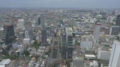 Aerial view of Sathon District, buildings downtown in Bangkok, Thailand. Stock Footage