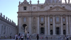 Tourists visit Saint Peter square at Vatican Rome catholic people at church view - stock footage
