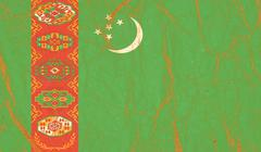 Turkmenistan flag painted on crumpled paper background - stock photo