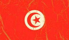 Tunisia flag painted on crumpled paper background - stock photo