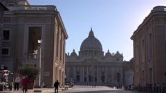 Street to Vatican basilica church San Pietro piazza iconic religion monument 4K Stock Footage
