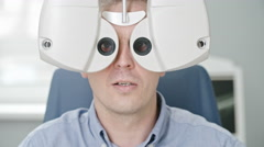 Vision Test with Automated Phoropter Stock Footage