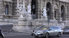 Car traffic in Rome Italy crowded street with cars motorcycles monuments view 4K Stock Footage
