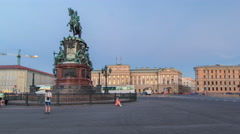 View of the Mariinsky palace and monument to Nikolay I from Isaac's square day Stock Footage