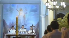 Night easter service at Vung Tau city 2015 Stock Footage