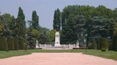 Piazza Virgiliana, monument to Virgilio, Mantua Stock Footage