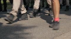 Vierdaagse walkers feet stepping,Middelaar,Netherlands Stock Footage