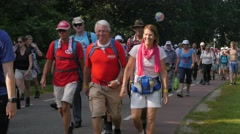 Vierdaagse walkers marching,Middelaar,Netherlands Stock Footage