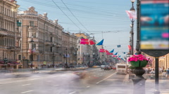 View of the Nevsky Prospekt timelapse near Uprising Square in St Petersburg Stock Footage