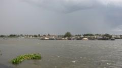 Choaphraya river at Tha Nam Non Market in Nonthaburi, Thailand Stock Footage