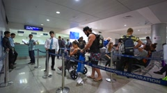 Tourists apply for a visa on arrival in the Tan Son Nhat International airport Stock Footage