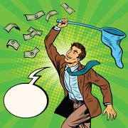 Businessman catching money with a butterfly net and said Stock Illustration