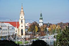 Holy trinity church and Saint Elizabeth church in Zvolen city, Slovak republi - stock photo