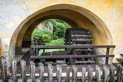 Old wooden watermill detail Stock Photos