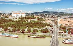 Bratislava is the capital city of Slovak republic. Embankment of Danube river Stock Photos