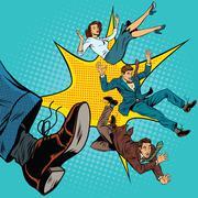 Kick leg, dismissal - stock illustration