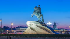 Peter the Great monument Bronze Horseman on the Senate Square night timelapse - stock footage