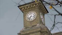 Kings Cross Clock Tower With Tree Stock Footage