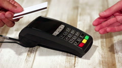 Making cahless payment and printing buyers chek using pos  terminal Stock Footage