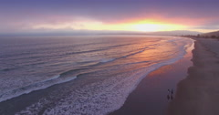 Aerial over a california beach at sunset, San Francisco Stock Footage