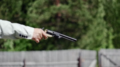 People bad holds the gun Stock Footage